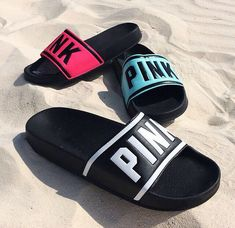 """Only by Victoria's Secret PINK. """"PINK across on the front. Victoria Secrets, Victoria Secret Pink, Nike Shoes Outfits, Pink Outfits, Cute Shoes, Me Too Shoes, Vs Pink Slides, Mode Blog, Pink Nation"""