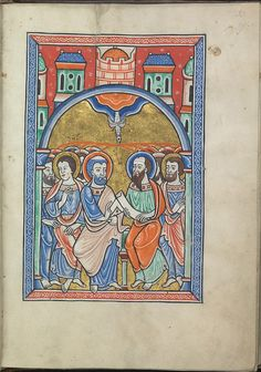 Images from the life of Christ - Pentecost, the Holy Spirit descends upon the apostles - Psalter of Eleanor of Aquitaine (ca. 1185) - KB 76 F 13, folium 027r.