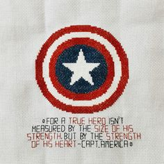 for a true hero isn't measured by the size of his strength, but by the strength of his heart - Captain America [Cross Stitch]