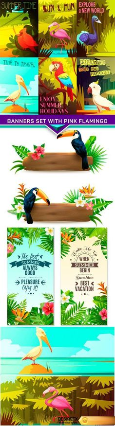 Tropical rainforest retro cartoon banners set with pink flamingo EPS Creative Banners, Holiday Banner, Retro Cartoons, Banner Vector, Retro Art, Pink Flamingos, Tropical, Clip Art, Vector Illustrations