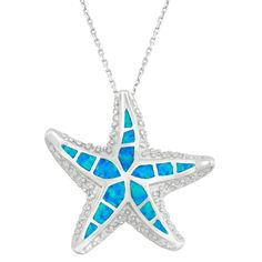 This fashionable pendant from La Preciosa features a cute starfish design set with fancy-cut created blue opal gemstones. The necklace is crafted of highly polished .925 sterling silver.