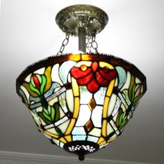 Garden Gate Tiffany Flush Mount Lamp