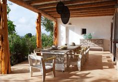 Clearly, Formentera is where we'll eventually need that second home that we so often dream about. A small Spanish island located near Ibiza, Formentera is known best for its pristine white beaches and beautiful white-washed and rustic homes. Patio Dining, Outdoor Dining, Outdoor Spaces, Outdoor Decor, Rustic Outdoor, Dining Area, Dining Room, Porches, Floor Design
