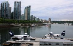 Seaplanes ready for take-off in Vancouver BC