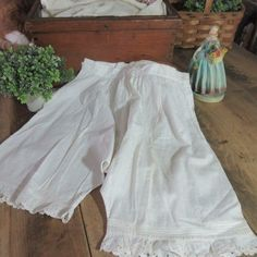 Adorable c1890 Victorian Short Bloomers Antique Laundry Display #Handmade Antique Clothing, Camembert Cheese, Laundry, Victorian, Display, Antiques, Handmade, Food, Laundry Room
