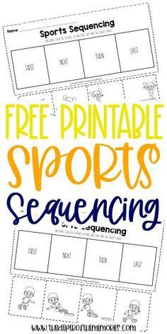 Your little kids will love learning with these fun Sports Printable Sequencing Worksheets. Practice problem solving and reading comprehension skills with your preschoolers and kindergartners today. You're definitely not going to want to miss them! #sports #preschool #kindergarten #sequencing Sequencing Worksheets, Printable Preschool Worksheets, Preschool Themes, Preschool Kindergarten, Kindergarten Worksheets, Free Printable, Sensory Activities Toddlers, Kids Learning Activities, Reading Comprehension Skills
