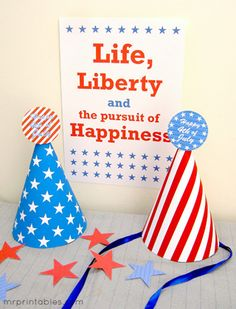 Free printable party hats (Mr. Printables): Stars and stripes hat can be used as is or dressed up with pom poms etc. Great for Fourth of July parties, a circus theme, an American Girl doll birthday party, an astronomy / outer space / rocket party, a star is born baby shower, or any party that uses the color red