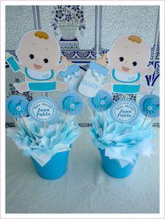 Centro de mesa para Baby Shower con dibujo de bebe | Manualidades para Baby Shower