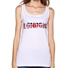 cf0d73fe2d4 QDYJM Women s Taylor Swift Style London England Flag Tank Top - L White  QDYJM