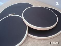 Chalk board embroidery hoops. Could be used for signage at a craft fair.