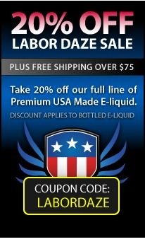 LABOR DAZE SALE ENDS SOON LAST CHANCE FOR 20% OFF ALL HALO E-LIQUID Just a quick reminder that #HaloCigs Labor Daze Sale ends in less than 36 hours. Now is your last chance to receive 20% off your purchase of Premium American Made #Eliquid at http://www.halocigs.com/.        Sale Ends: September 5th, 2013 at Midnight                  COUPON CODE: LABORDAZE Code must be entered at checkout to receive discount.