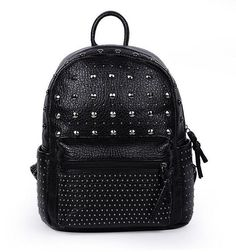 0d592aa2b8be 2015 new design hit color rivets personality School bags fashion women  shoulder bag PU leather backpacks