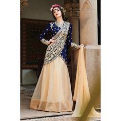 Designer Blue & Beige Embroidered Chiffon Party Wear Salwar Kameez - JOM28SK13310 ( Jom-9900-J9900 )