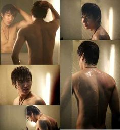 Lee Min Ho shirtless. Lee Min Ho taking a shower.
