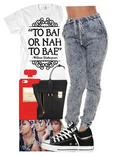 """to bae or nah to bae"" by lovebrii-xo ❤ liked on Polyvore featuring 3.1 Phillip Lim and Converse"