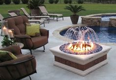 The Philharmony square Fire Pit and Water Fountain with light kit ...