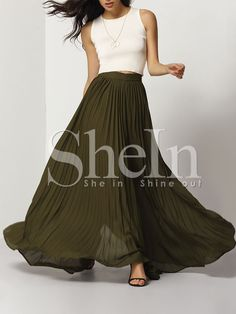 Shop Army Green Pleated Maxi Skirt online. SheIn offers Army Green Pleated Maxi Skirt & more to fit your fashionable needs.