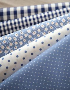 Blue Floral dots and check Cotton fat Quarter Set of 5 by SonSu, $13.20