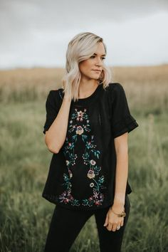 Lola Embroidered Blouse in Black