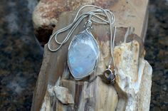 Silver wire wrapped large size free form shape by SAGaStone Moonstone Pendant, Stone Necklace, Wire Wrapping, Buy And Sell, Etsy Shop, Shapes, Gemstones, Sterling Silver, Chain