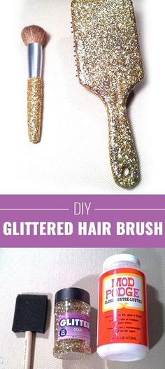 Cool DIY Crafts Made With Glitter - Sparkly, Creative Projects and Ideas for the Bedroom, Clothes, Shoes, Gifts, Wedding and Home Decor | Glitter Hair Brush | http://diyprojectsforteens.com/diy-projects-made-with-glitter/