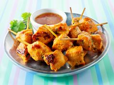 Turkey Brochettes with Red Pepper Salsa  Thanksgiving leftovers? Put them to work as an appetizer for day-after celebrations.