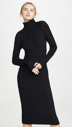 Fabric: Mid-weight cable knit Turtleneck and long sleeves with ribbed trim Body-con silhouette Shell: polyamide Unlined Wash cold Imported, China Measurements Measurements from size S Length: / from shouler Beautiful Prom Dresses, Nice Dresses, Dresses With Sleeves, Cashmere Sweater Dress, Sweater Over Dress, Turtleneck Dress, Column Dress, Warm Outfits, Summer Outfits