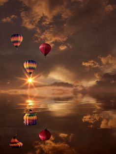 Hot air balloons flying over water at sunset Beautiful Sunset, Beautiful World, Beautiful Beautiful, Images Cools, Pretty Pictures, Cool Photos, Amazing Photography, Nature Photography, Ciel Nocturne