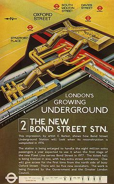 "3D Cutaway poster from 1970 predicting what ""new"" Bond Street Tube would look like"