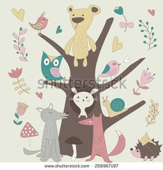 Cute forest animals in vector set. Bear, fox, wolf, snail, hedgehog, bunny and birds in cartoon style.