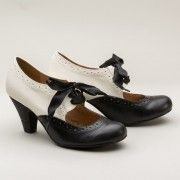 Sylvia 1930s Two-Tone Pumps by Chelsea Crew BlackWhite $65.00 AT vintagedancer.com