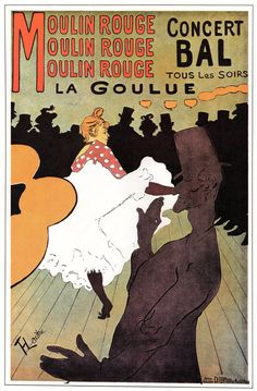 French theater poster features a dancer kicking up her skirt in front of a crowd of men in silhouette and one in front. The beautiful Vintage Poster Reproduction is perfect for an office or living room. Moulin Rouge La Goulue by Henri de Toulouse Lautrec Vintage French Posters, French Vintage, Vintage Art, Vintage Soul, Henri De Toulouse Lautrec, Moulin Rouge Paris, Le Moulin, Folies Bergeres, Milwaukee Art Museum