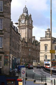 Looking up Leith Street to the Balmoral Clock Tower, Edinburgh.