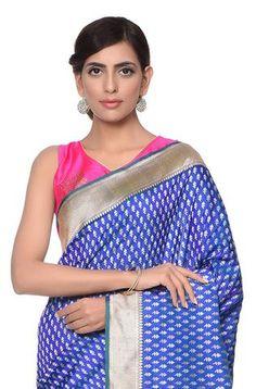 Handwoven kadhwa banarasi saree with delicate sona rupa booti