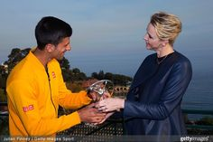 Laureus World Sportsman of the Year 2015 winner and Tennis player Novak Djokovic of Serbia receives his award from Princess Charlene of Monaco at the Monte-Carlo Sporting Club on April 14, 2015 in Monte-Carlo, Monaco.