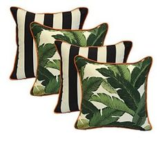 Set of 4 - Indoor / Outdoor Square Decorative Throw / Toss Pillows - Black and White Stripe & Tommy Bahama Green Tropical Swaying Palms w/ Orange Piping / Cording - Zipper Cover & Insert Tropical Bedrooms, Tropical Home Decor, Tropical Houses, Tropical Interior, Black And White Furniture, White Bedroom Furniture, Bedroom Black, Accent Furniture, Furniture Sets
