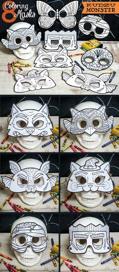 Easy printable masks from Kudzu Monster. Owl mask, frankenstein, mummy coloring mask, wolf mask, cat mask and more. Instant download easy to cut masks. Great for a Halloween class activity!