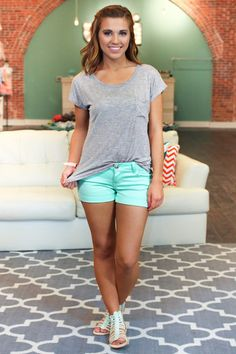 Not So Basic Pocket Tee - Heather Grey. Mint green shorts with caged mint green sandals.