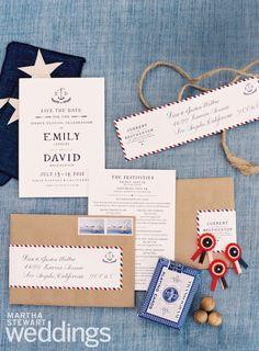 Americana-inspired wedding invitation suite | Fall Martha Stewart Weddings Preview; photo by Jose Villa