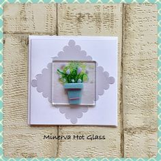 Fused Glass Greeting Card, Handmade, Lilac Flower, Floral Gifts, Hand crafted by Minerva Hot Glass Glass Wall Art, Fused Glass Art, Lilac Flowers, Tea Light Holder, Greeting Cards Handmade, Glass Ornaments, Tea Lights, Handmade Gifts, Hot