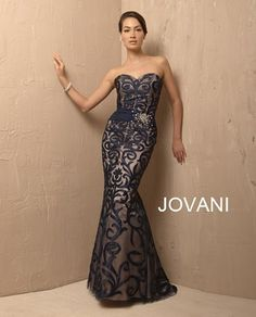 Jovani 4876 Navy/Nude Evening Gown Dress Formal New 10 Formal Evening Dresses, Evening Gowns, Strapless Dress Formal, Dress Prom, Long Dresses, Anniversary Dress, High Fashion Dresses, Gowns Of Elegance, Groom Dress