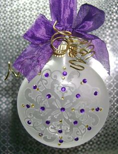"~ Elegant Purple & Gold Etched Glass Ornament ~ Stick on design, brush on etching liquid, glue on gems. In a nice decorated box with ""Thank You"" on the box."