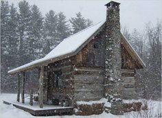 Rustic cabin in the snow