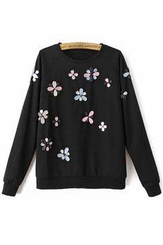 Dainty Floral Black Sweatshirt