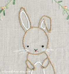 Ribbon Embroidery For Beginners Little Bunny Hand Embroidery PDF Pattern Instand Digital Silk Ribbon Embroidery, Hand Embroidery Patterns, Embroidery Art, Embroidery Stitches, Hand Embroidery Projects, Knitting Stitches, Creation Couture, Embroidery For Beginners, Nursery Art