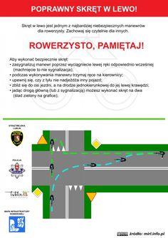 Poprawny skręt w lewo rowerem! / Correct left turn bicycle! #rower #edukacja #ulotka #infografika #bike #education #leaflet #infographic Map, Education, Location Map, Maps, Onderwijs, Learning