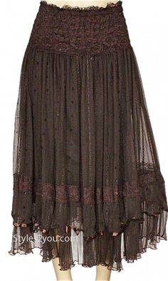 Pretty Angel Clothing Vintage Skirt With Sequins In Coffee