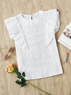 SheIn offers Buttoned Keyhole Flutter Sleeve Eyelet Embroidered Top & more to fit your fashionable needs. Fall Outfits, Kids Outfits, Fashion Outfits, Little Girl Dresses, Girls Dresses, Shirt Bluse, Frocks For Girls, Baby Dress, Blouse Designs
