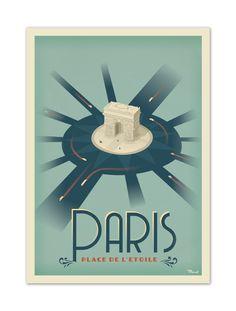 """€25 . Affiche Illustration Originale PARIS """"Place de l'Etoile"""" . Papier 350g/m² Couché Mat"""