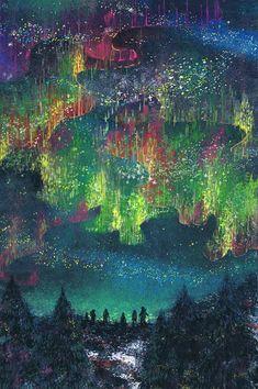"""オーロラの灯 by Yoneda Eri Just Beautiful to find, """"Where the Lights Touch the Earth!"""""""